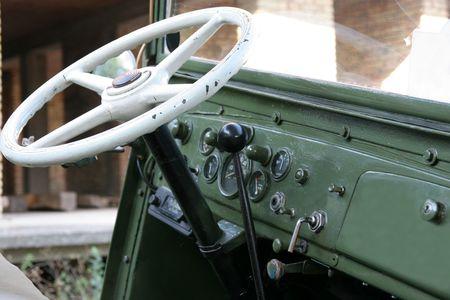 green army jeep, inside photo