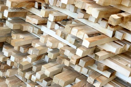 timber in sawmill Stock Photo