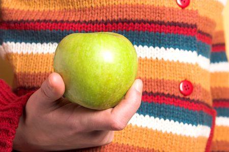 detalles y su�ter de color verde manzana en closeup  Foto de archivo - 792786