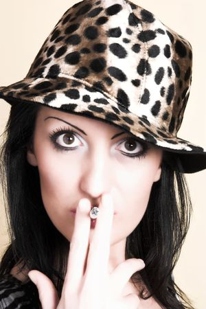 beautiful brunette young woman with cigar Stock Photo - 792699
