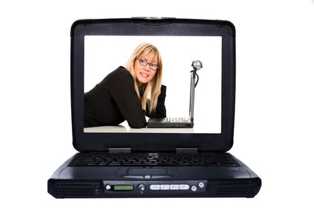 laptop on white background, woman at display monitor photo
