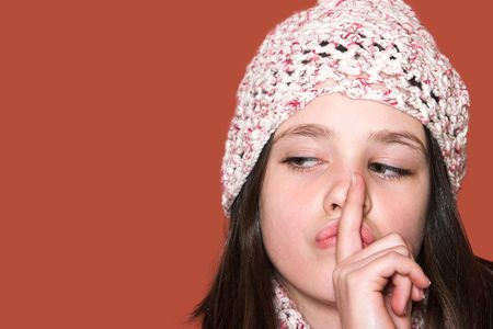 portrait of pretty girl gestures for silence, shhh� Stock Photo
