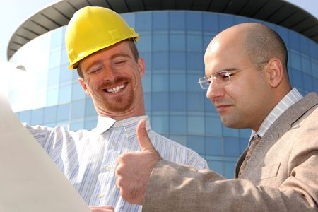 gladness architect and businessman with architectural plans Stock Photo - 835105