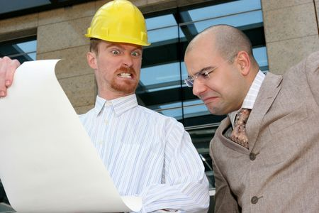 angry architect and businessman with architectural plans Stock Photo - 835099