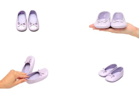 girl shoes on white background, presentation photo