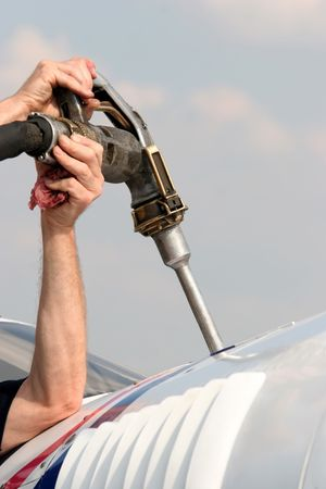 refuel: Refuel the plain in close up Stock Photo