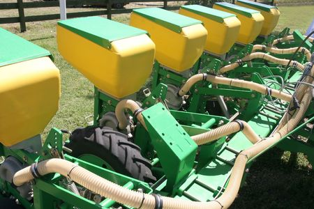 planter: details a new planter, agriculture machinery Stock Photo