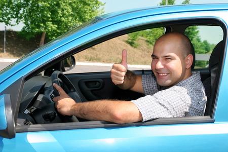 car inside: Businessman in the car, inside