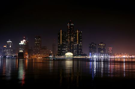 michigan: view of Detroit skyline at night, Michigan
