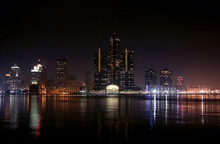view of Detroit skyline at night, Michigan