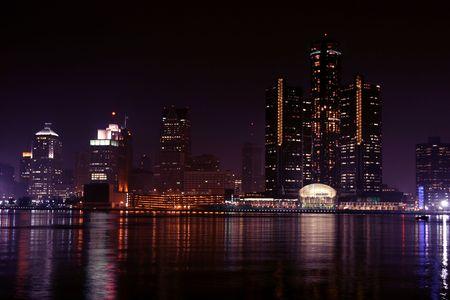 michigan: view of Detroit skyline at night, Michigan