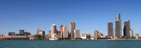 michigan: view of panorama Detroit skyline from Windsor