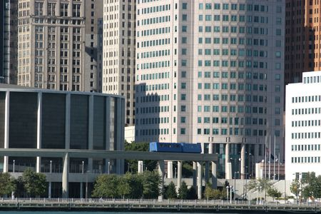 view of Detroit skyline from Windsor, Onta Stock Photo - 2165524