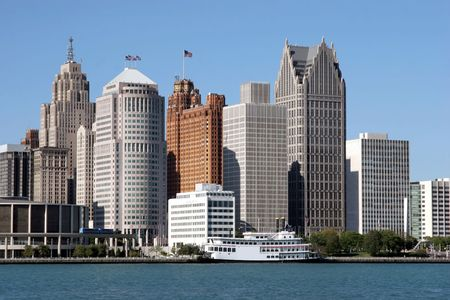 michigan: view of Detroit skyline from Windsor, Ontario