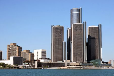 view of Detroit skyline from Windsor, Ontario photo