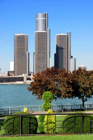 view of Detroit skyline from Windsor, Ontario Stock Photo - 2165526