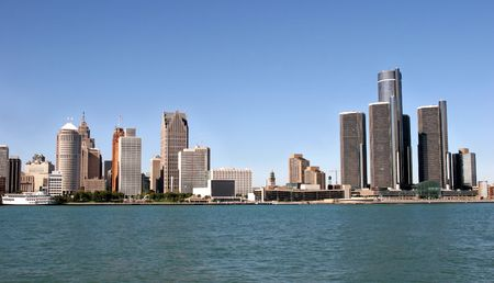 windsor: view of panorama Detroit skyline from Windsor