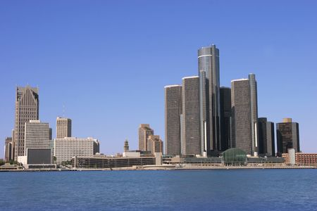 windsor: view of Detroit skyline from Windsor, Ontario