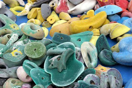 handhold: Pile of climbing artificial handhold