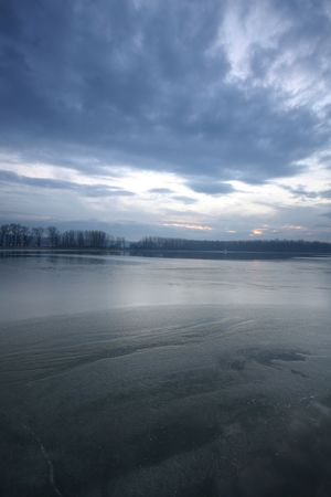 winter river scenery in Serbia photo
