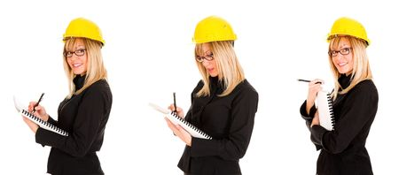 continuation: A businesswoman with documents and pencil, photo series Stock Photo