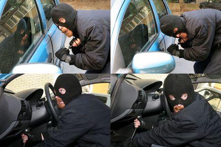 burglar wearing a mask (balaclava), car burglary, photo series  photo