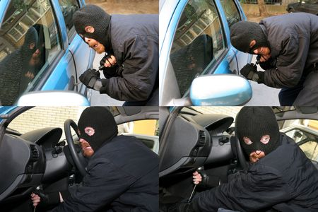 larceny: burglar wearing a mask (balaclava), car burglary, photo series