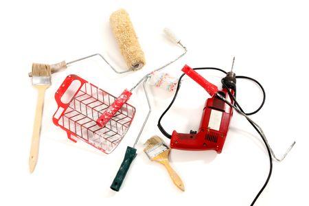borer: paint roller, brushes, borer on white background Stock Photo