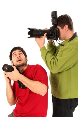 photojournalist: Professional photographer in action on white background