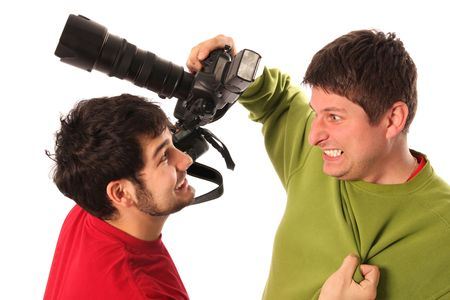 press agent: Two Professional photographer fighting white background