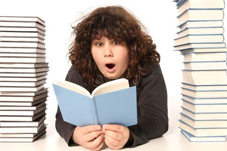 huh: boy surprised and many books on white background