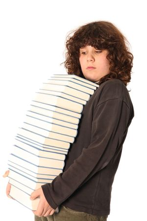 huh: boy carrying books on white background Stock Photo