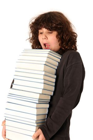 boy carrying books on white background Stock Photo - 2766509