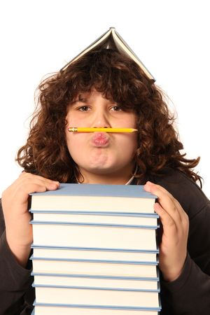 uneducated: boy with pencil and books on white background
