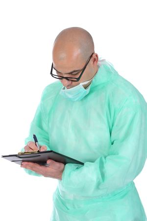 Details an surgeon with documents and pencil photo