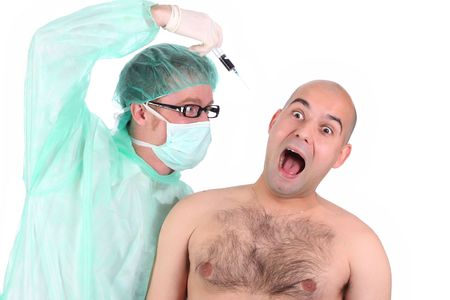 maniac: details aggressive surgeon injecting a scare patient