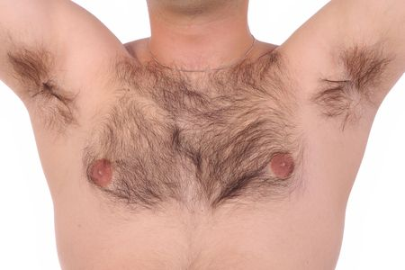 Person with shaggy chest and in close up Stock Photo