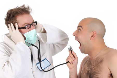 funny doctor: details funny doctor and patient with stethoscope Stock Photo