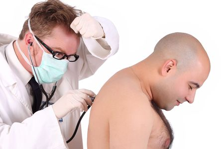 details funny doctor checking a patient with stethoscope photo