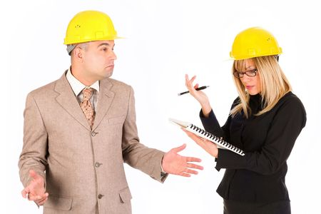angry businesswoman and architect with architectural plans photo