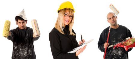 businesswoman and two house painter with paint roller photo
