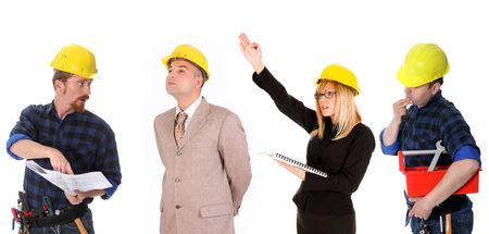 angry businesswoman,  businessman and construction workers with architectural plans photo