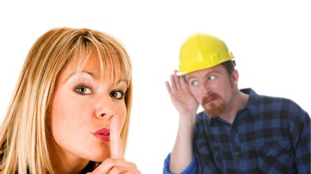 businesswoman gestures for silence, shhhh and construction worker listening photo