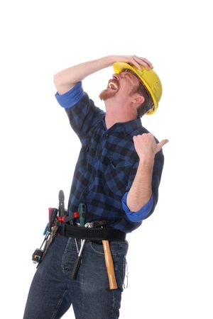 journeyman: An construction worker tittering on white background
