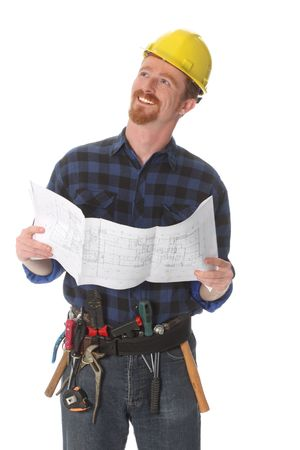 journeyman: construction worker with architectural plans on white background Stock Photo