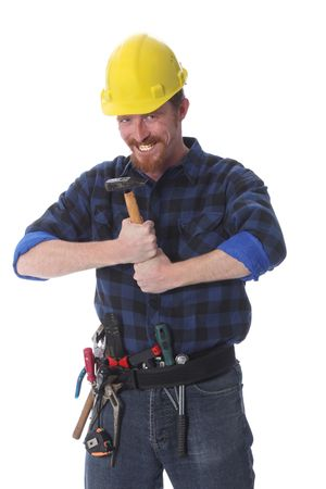 construction worker with hammer on white background photo