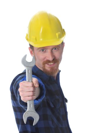 construction worker handle double wrench in closeup photo