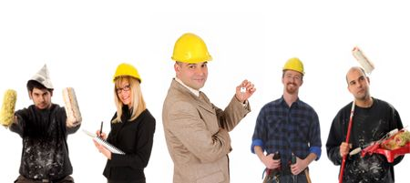 Leadership and team of workers on white background photo