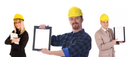businesswoman, businessman and construction worker on white background Stock Photo - 3032212