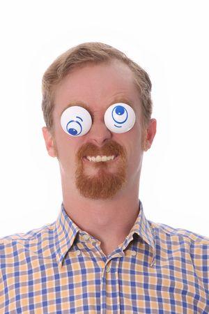 chłopięctwo: Bardzo śmieszne młody człowiek z zabawkami w jego oczy
